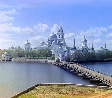 """""""The Monastery of St. Nil' on Stolobnyi Island in Lake Seliger in Tver' Province, northwest of Moscow, illustrates the fate of church institutions during the course of Russian history. St. Nil (d. 1554) established a small monastic settlement on the island around 1528. In the early 1600s his disciples built what was to become one of the largest, wealthiest, monasteries in the Russian Empire. The monastery was closed by the Soviet regime in 1927, and the structure was used for various secular purposes, including a concentration camp and orphanage. In 1990 the property was returned to the Russian Orthodox Church and is now a functioning monastic community once more."""" (Library of Congress)"""