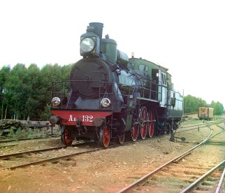 A steam locomotive with a Schmidt boiler on the railroad between Perm and Yekaterinburg in the Ural Mountains region in the far eastern part of European Russia. Built at the Bryansk factory, these B-series locomotives were designed for hauling high-speed passenger trains, and, until 1912, were the fastest locomotives on the Russian rail. Sergei Prokudin-Gorskii / Public domain. Library of Congress via Wikimedia Commons.