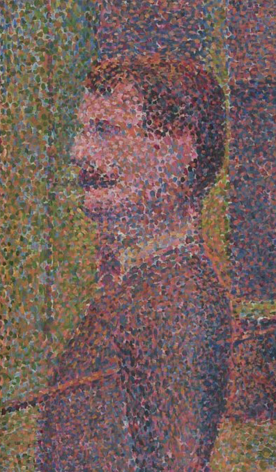 "Detail from Parade de cirque. Detail showing pointillism technique. ""Instead of painting outlines and shapes with brush strokes and areas of color, pointillism builds up the image from separate colored dots of paint. From a distance, the dots merge to some extent and appear to be areas of shaded tones, but the colors have an extra vibrancy from the juxtaposition of contrasting dots."" Parade de cirque (Circus Sideshow) via Wikimedia Commons. Georges Seurat/Public domain."